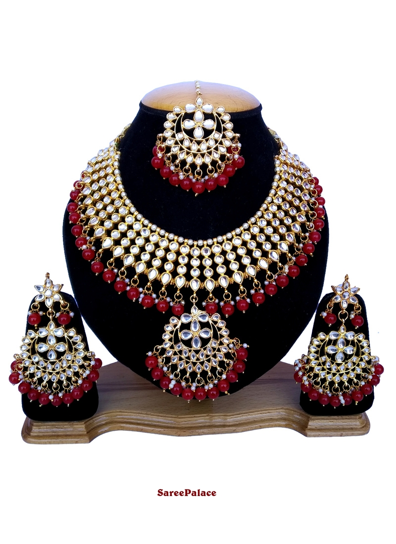 Gold and Maroon Stone Work Ceremonial Necklace Set
