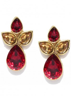 Gold and Maroon Stone Work Ear Rings