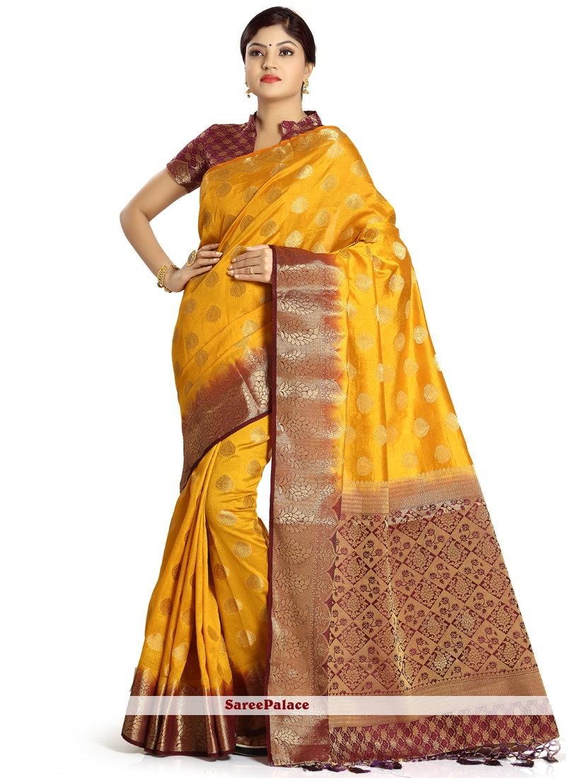 Gold and Maroon Zari Work Art Silk Designer Traditional Saree