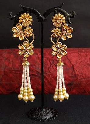 Gold and Off White Moti Festival Ear Rings