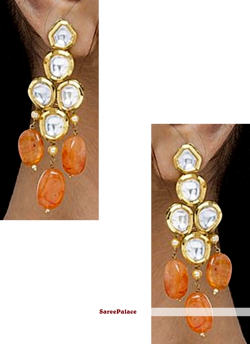 Gold and Orange Ear Rings