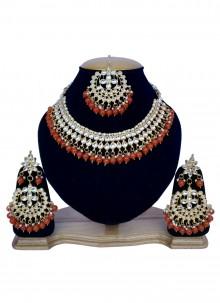 Gold and Orange Stone Work Necklace Set
