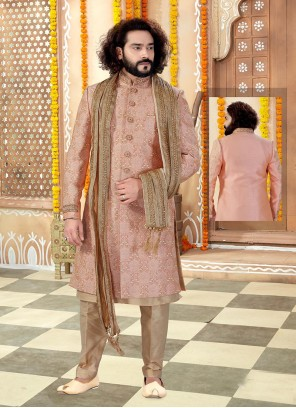 Gold and Peach Color Sherwani