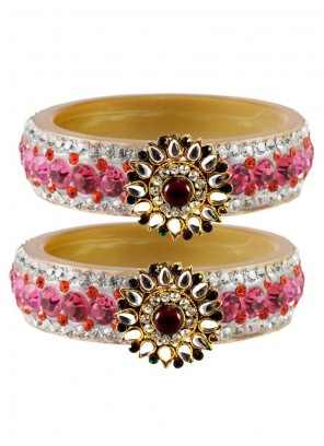 Gold and Pink Bangles