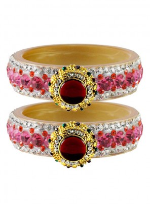 Gold and Pink Stone Work Bangles