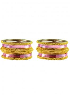 Gold and Pink Stone Work Mehndi Bangles