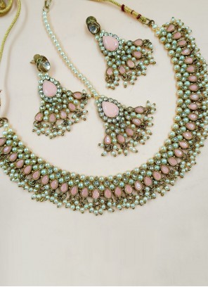 Gold and Pink Stone Work Necklace Set
