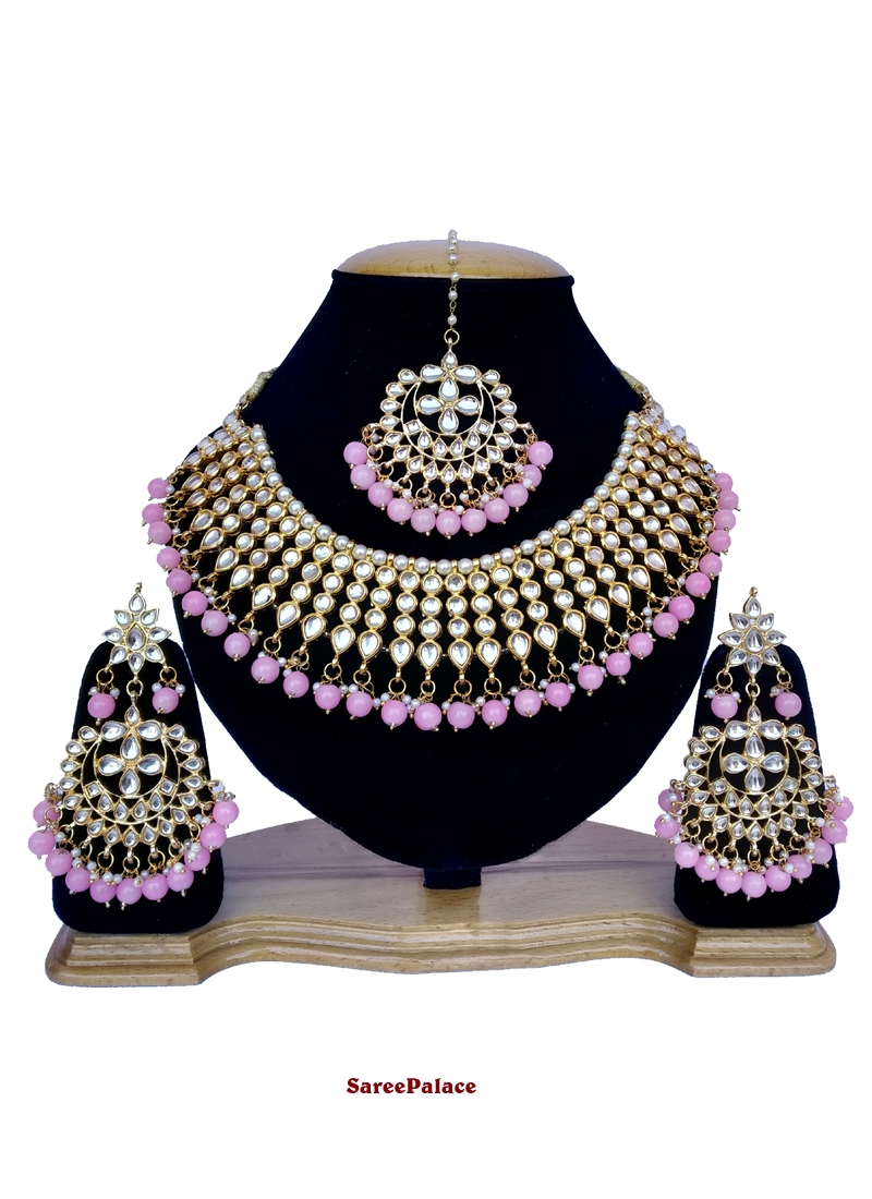Gold and Pink Stone Work Sangeet Necklace Set