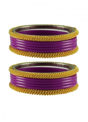 Gold and Purple Bangles
