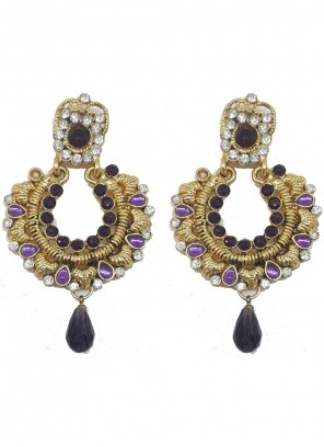 Gold and Purple Color Ear Rings