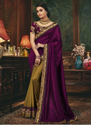Gold and Purple Designer Half N Half Saree