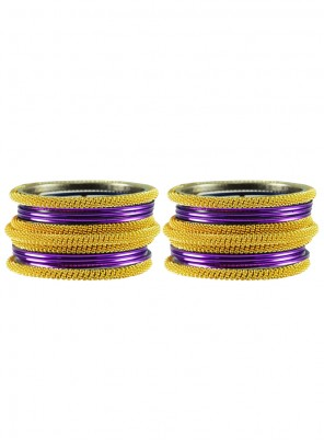 Gold and Purple Stone Work Festival Bangles