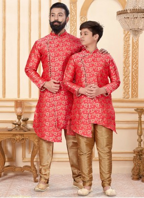 Gold and Red Engagement Indo Western