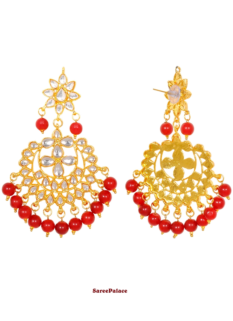 Gold and Red Moti Party Ear Rings