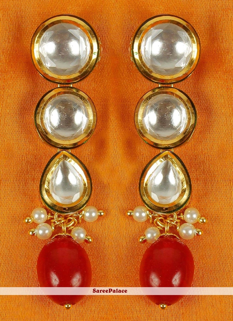 Gold and Red Stone Ear Rings