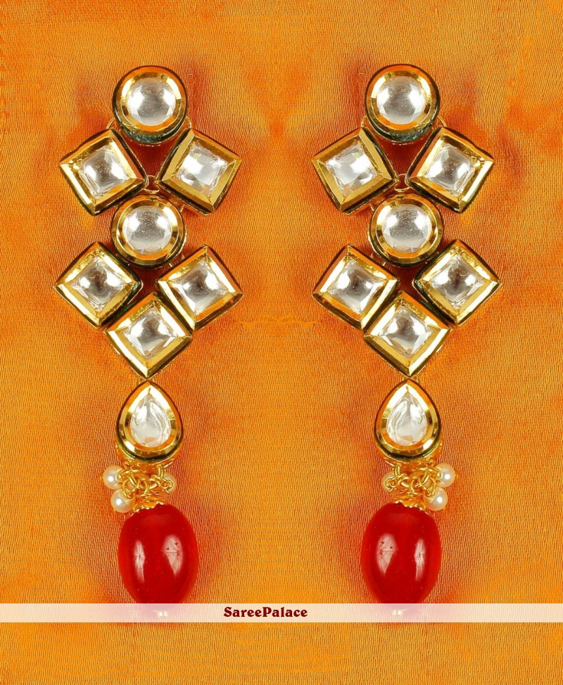 Gold and Red Wedding Ear Rings