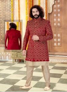 Gold and Red Wedding Sherwani