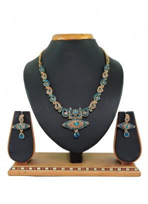 Gold and Teal Mehndi Necklace Set