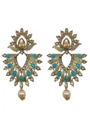 Gold and Teal Moti Engagement Ear Rings