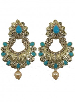 Gold and Teal Stone Ceremonial Ear Rings