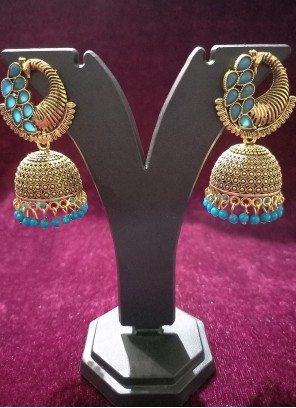 Gold and Turquoise Oxidised Plating Ear Rings