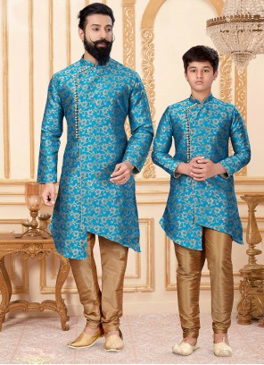 Gold and Turquoise Woven Indo Western