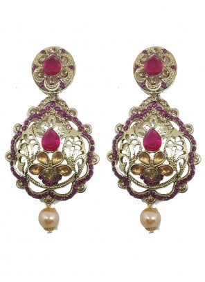 Gold and Violet Moti Ear Rings