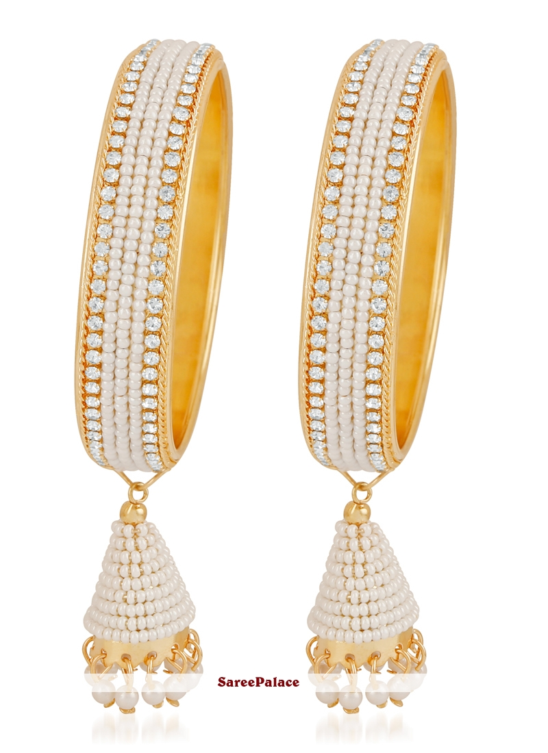 Gold and White Stone Work Reception Bangles