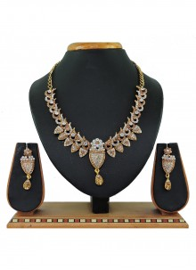 Gold and White Stone Work Reception Necklace Set