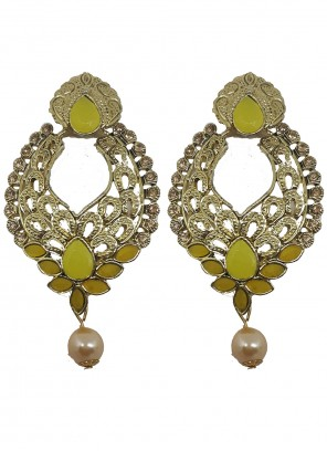 Gold and Yellow Stone Ear Rings