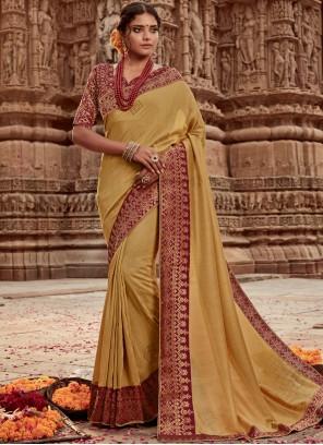 Gold Art Banarasi Silk Designer Traditional Saree