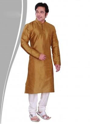 Gold Art Dupion Silk Plain Kurta Pyjama