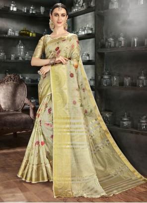 Gold Art Silk Reception Printed Saree