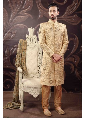 Gold Art Silk Sherwani