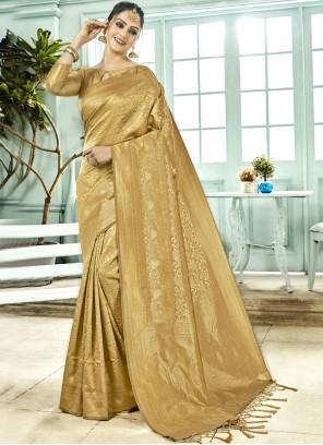 Gold Art Silk Traditional Designer Saree