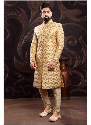 Gold Art Silk Wedding Sherwani