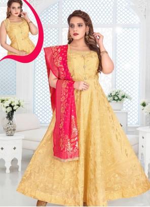 Gold Chanderi Reception Anarkali Salwar Kameez