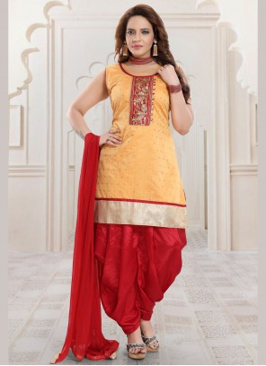Gold Chanderi Salwar Kameez