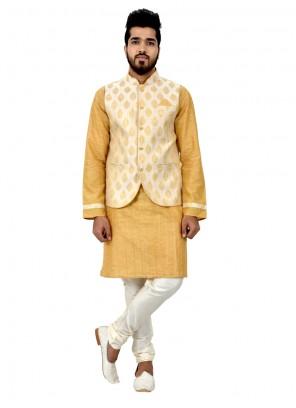 Gold Cotton Silk Kurta Payjama With Jacket with Plain