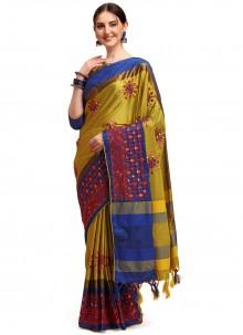 Gold Cotton Silk Traditional Saree
