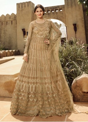 Gold Embroidered Anarkali Salwar Suit