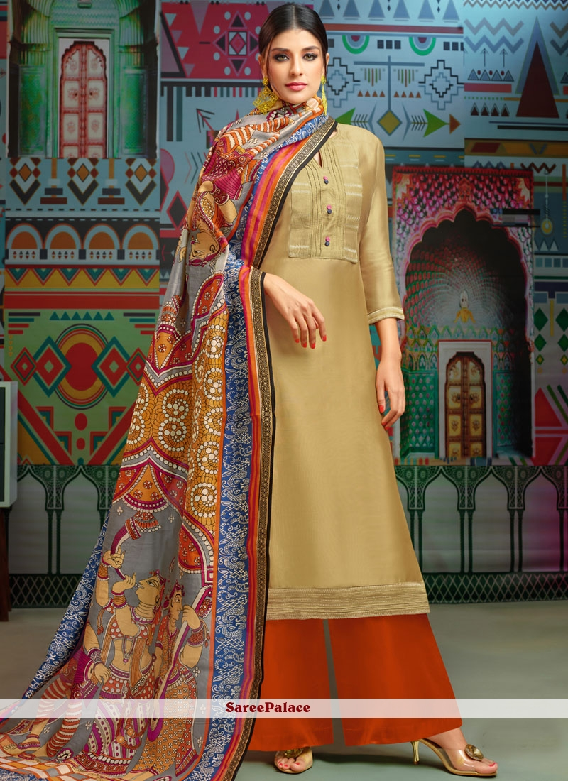 Gold Embroidered Chanderi Cotton Designer Palazzo Suit
