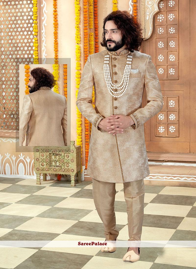 Gold Embroidered Jacquard Indo Western Sherwani