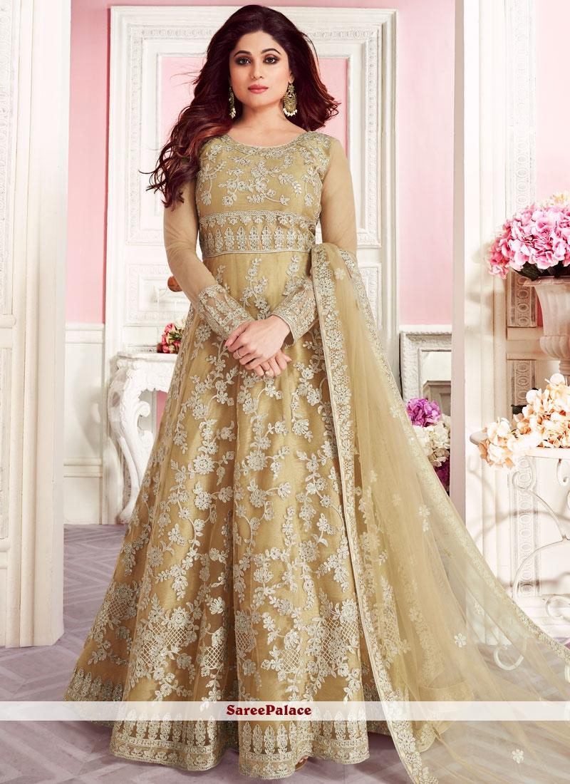 Gold Embroidered Net Anarkali Suit