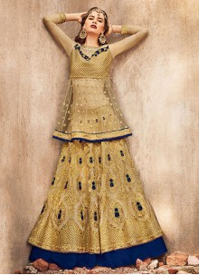 Gold Embroidered Party A Line Lehenga Choli
