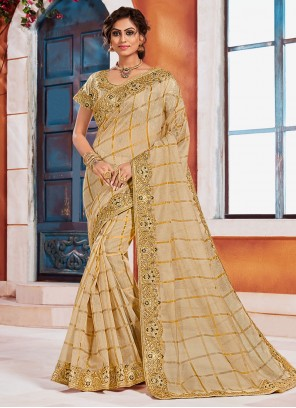 Gold Embroidered Silk Designer Saree