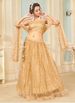 Gold Fancy Net Lehenga Choli