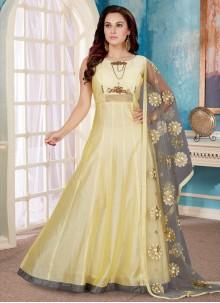 Gold Handwork Art Silk Readymade Designer Gown