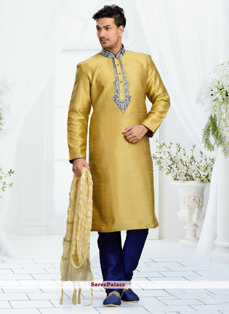 Gold Jacquard Kurta Pyjama with Embroidered