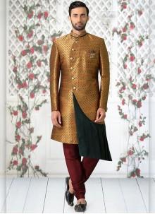 Gold Jacquard Mehndi Indo Western